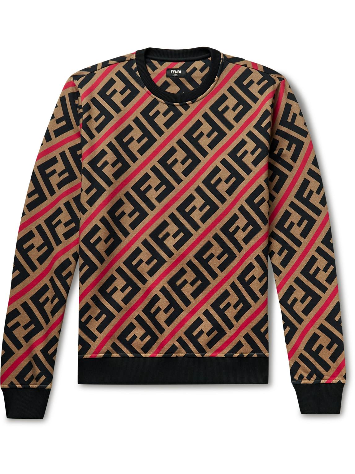 Fendi - Logo-Print Fleece-Back Cotton-Jersey Sweatshirt - Men - Brown - M