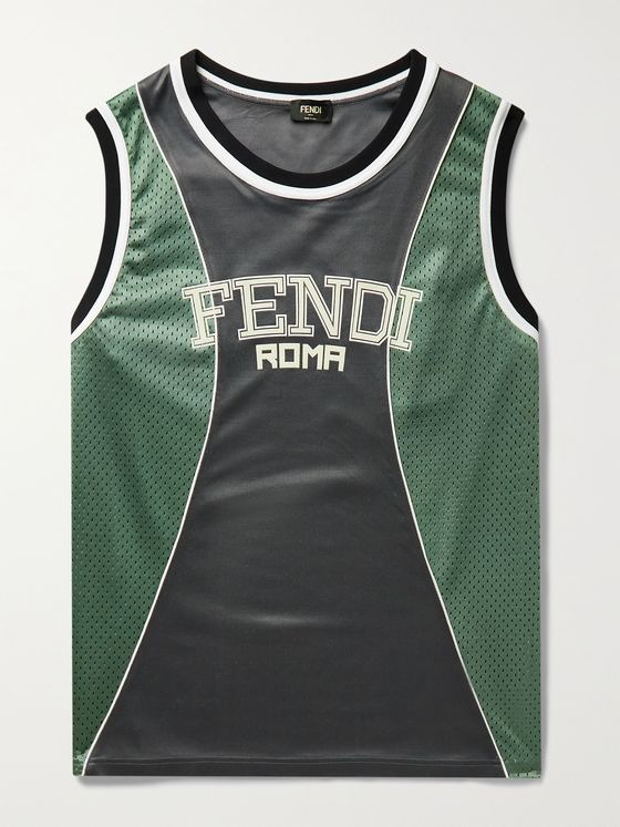 FENDI Logo-Appliquéd Mesh-Panelled Jersey Tank Top