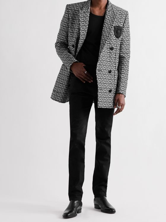 BALMAIN Double-Breasted Logo-Jacquard Cotton Blazer