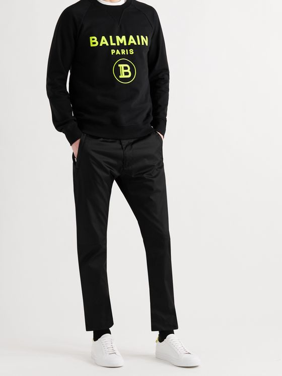 BALMAIN Slim-Fit Logo-Flocked Cotton-Jersey Sweatshirt