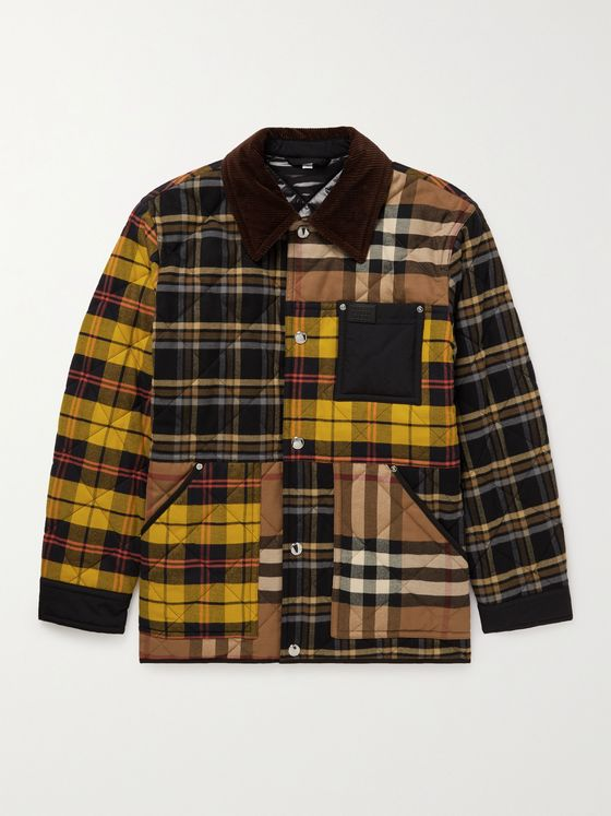 BURBERRY Corduroy and Nylon-Trimmed Patchwork Cotton-Flannel Overshirt