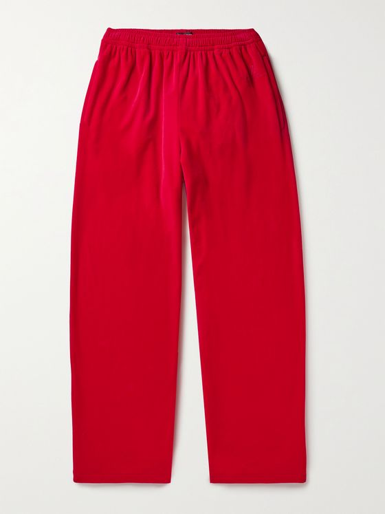BALENCIAGA Wide-Leg Cotton-Blend Velvet Sweatpants