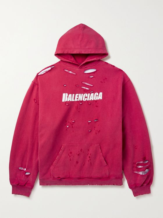 BALENCIAGA Oversized Distressed Logo-Print Loopback Cotton-Jersey Hoodie