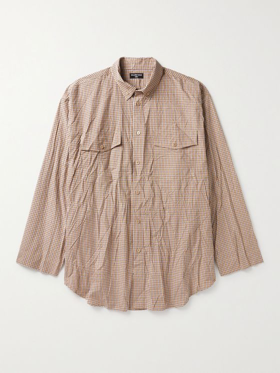 BALENCIAGA Oversized Button-Down Collar Checked Cotton Shirt