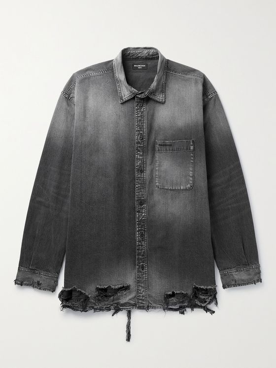 BALENCIAGA Distressed Denim Overshirt
