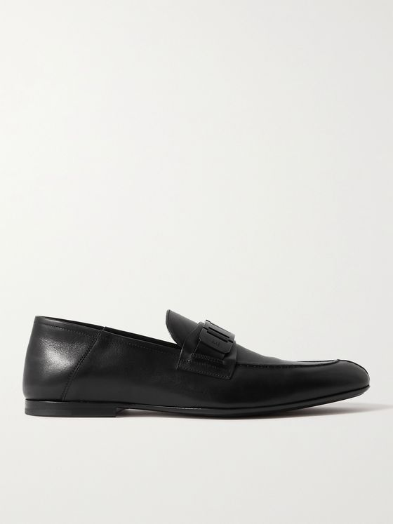 DUNHILL Link Chain-Embellished Brushed-Leather Loafers