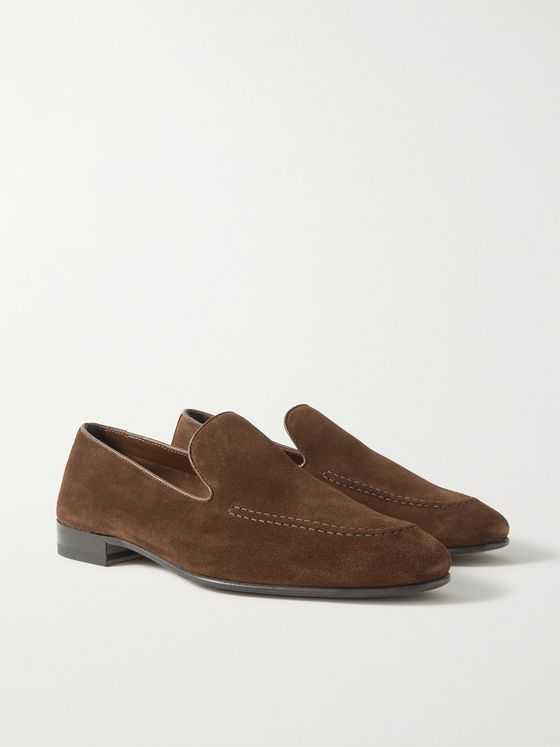 MANOLO BLAHNIK Truro Leather-Trimmed Suede Loafers