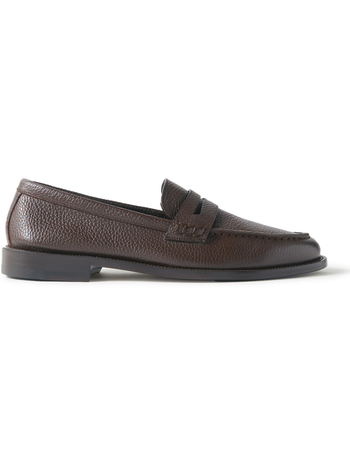 Manolo Blahnik Perry Full-grain Leather Penny Loafers In Brown