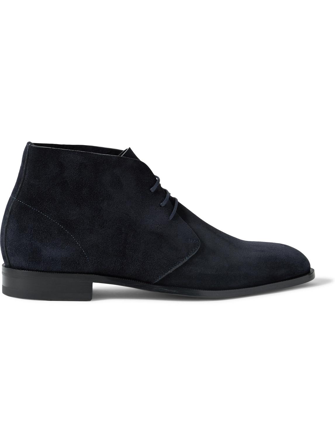Manolo Blahnik Berwick Suede Chukka Boots In Blue