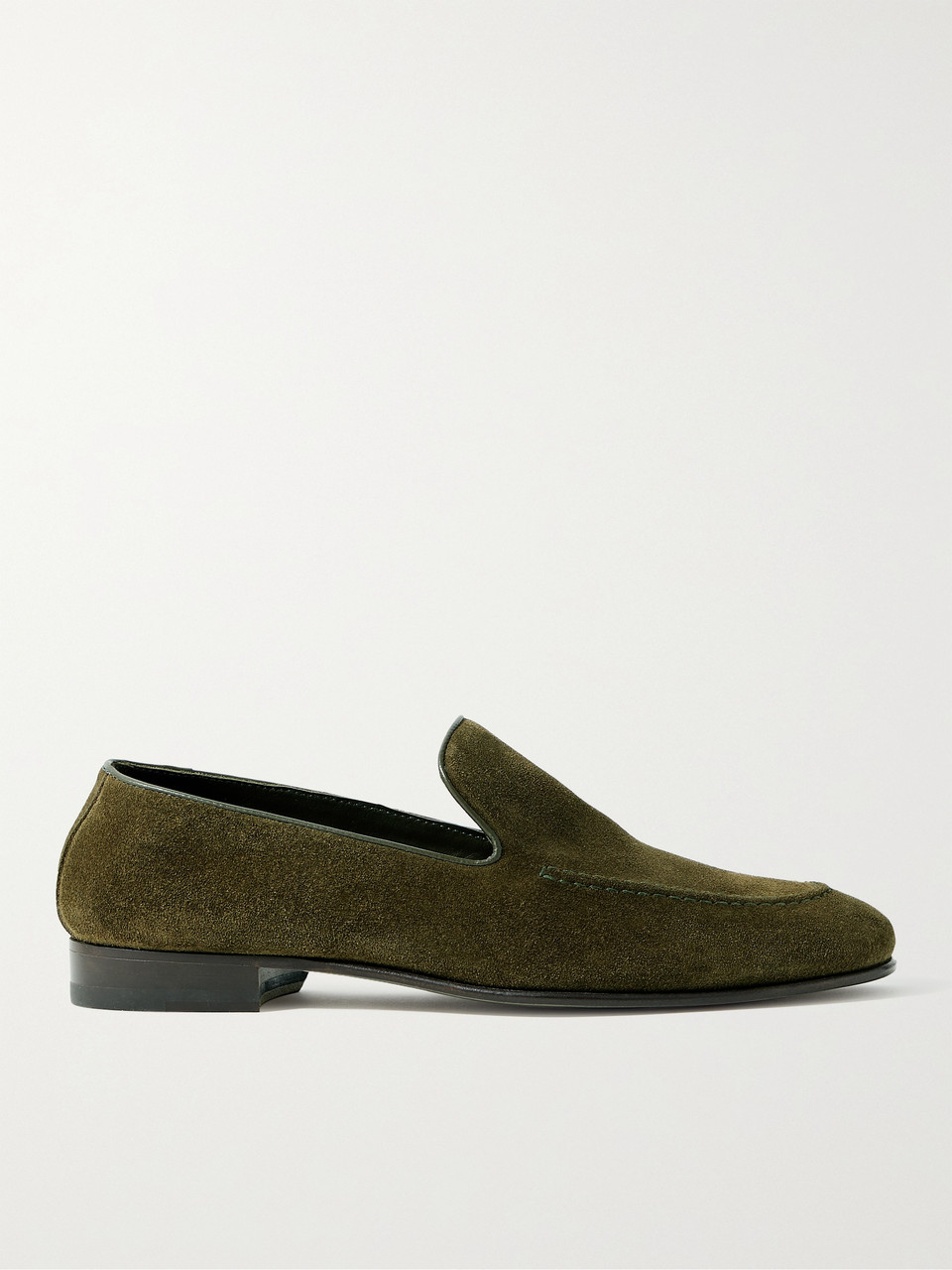 Manolo Blahnik Truro Leather-trimmed Suede Loafers In Green