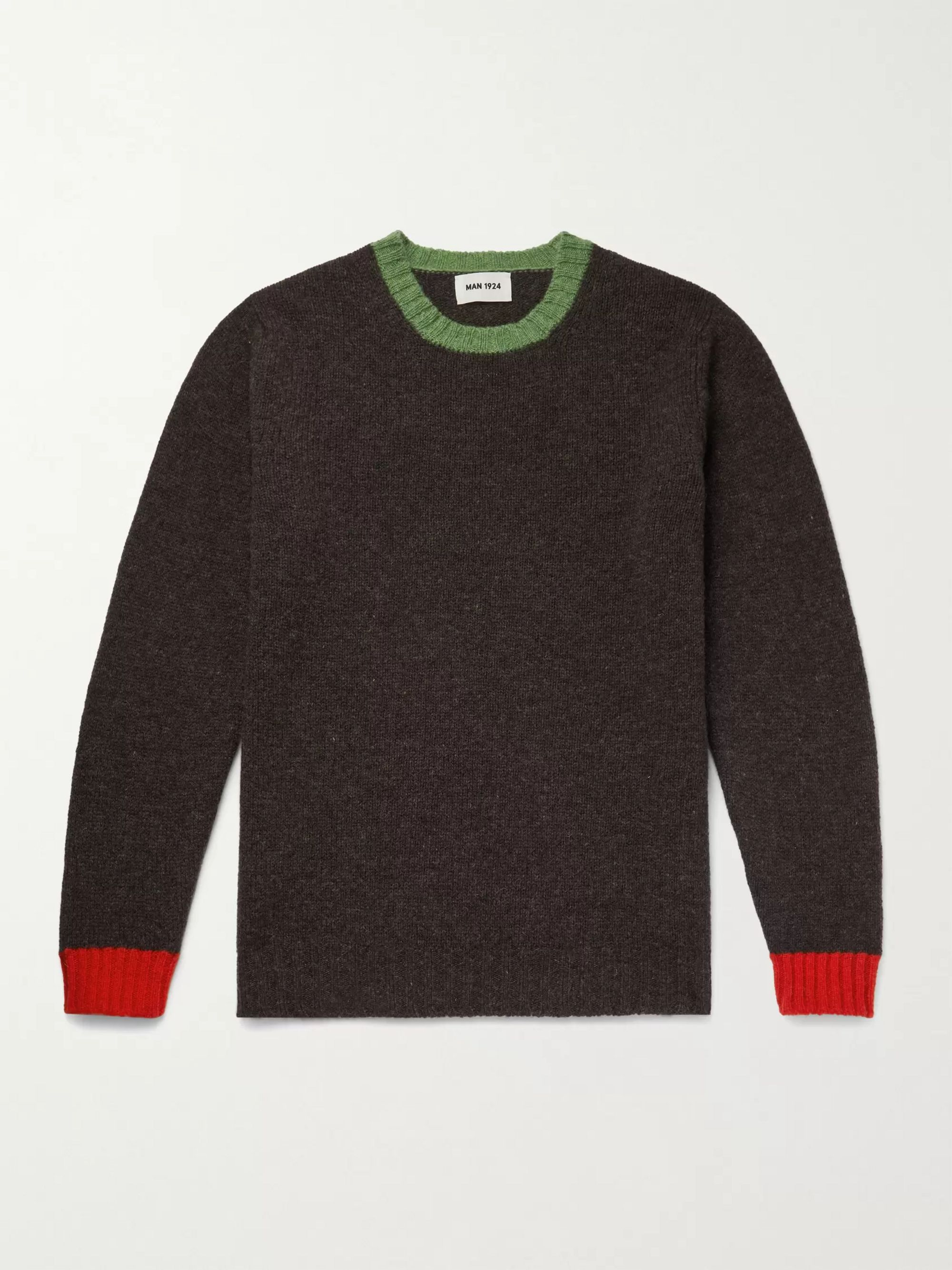 MAN 1924 Contrast-Tipped Virgin Wool Sweater