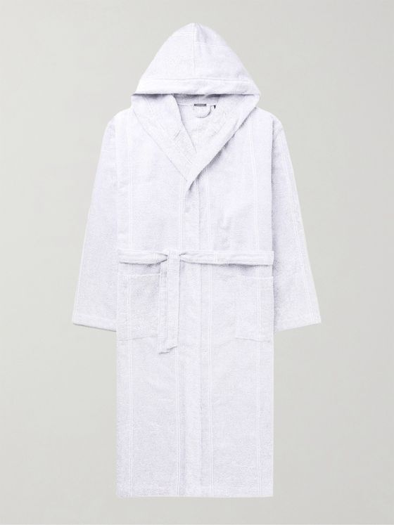 SCHIESSER Striped Cotton-Terry Hooded Robe