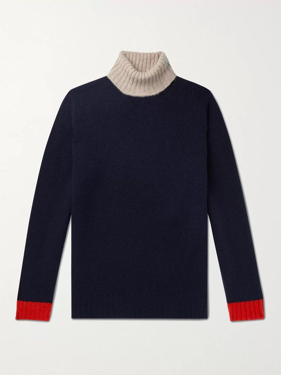 MAN 1924 Slim-Fit Colour-Block Wool Rollneck Sweater