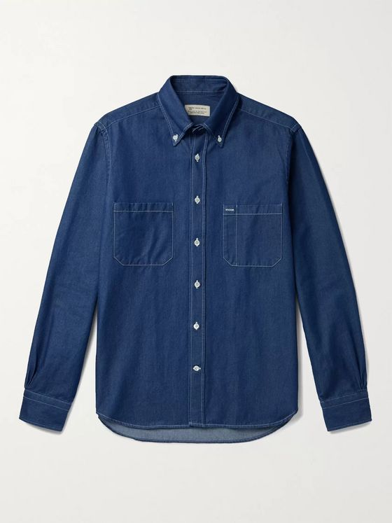 MAN 1924 Slim-Fit Button-Down Collar Cotton-Chambray Shirt