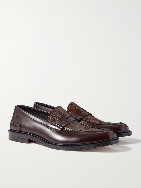 VINNY'S Townee Panelled Snake-Effect Leather Penny Loafers