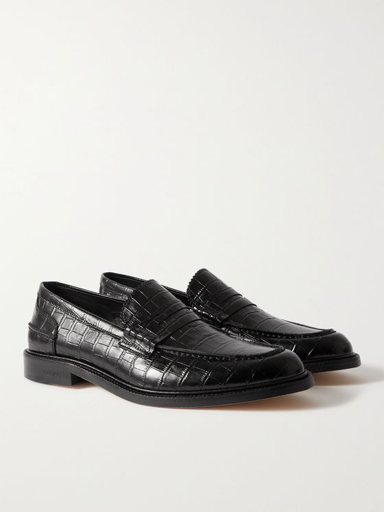 VINNY'S Romeo Croc-Effect Leather Penny Loafers