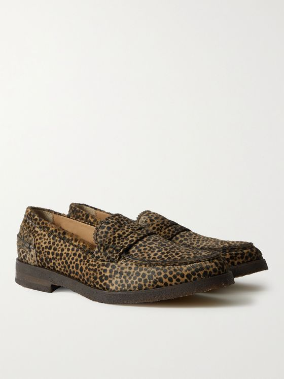 VINNY'S Paname Leopard-Print Calf Hair Penny Loafers
