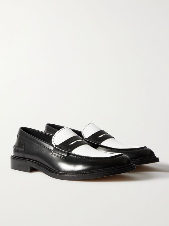VINNY'S Uptownee Colour-Block Leather Penny Loafers