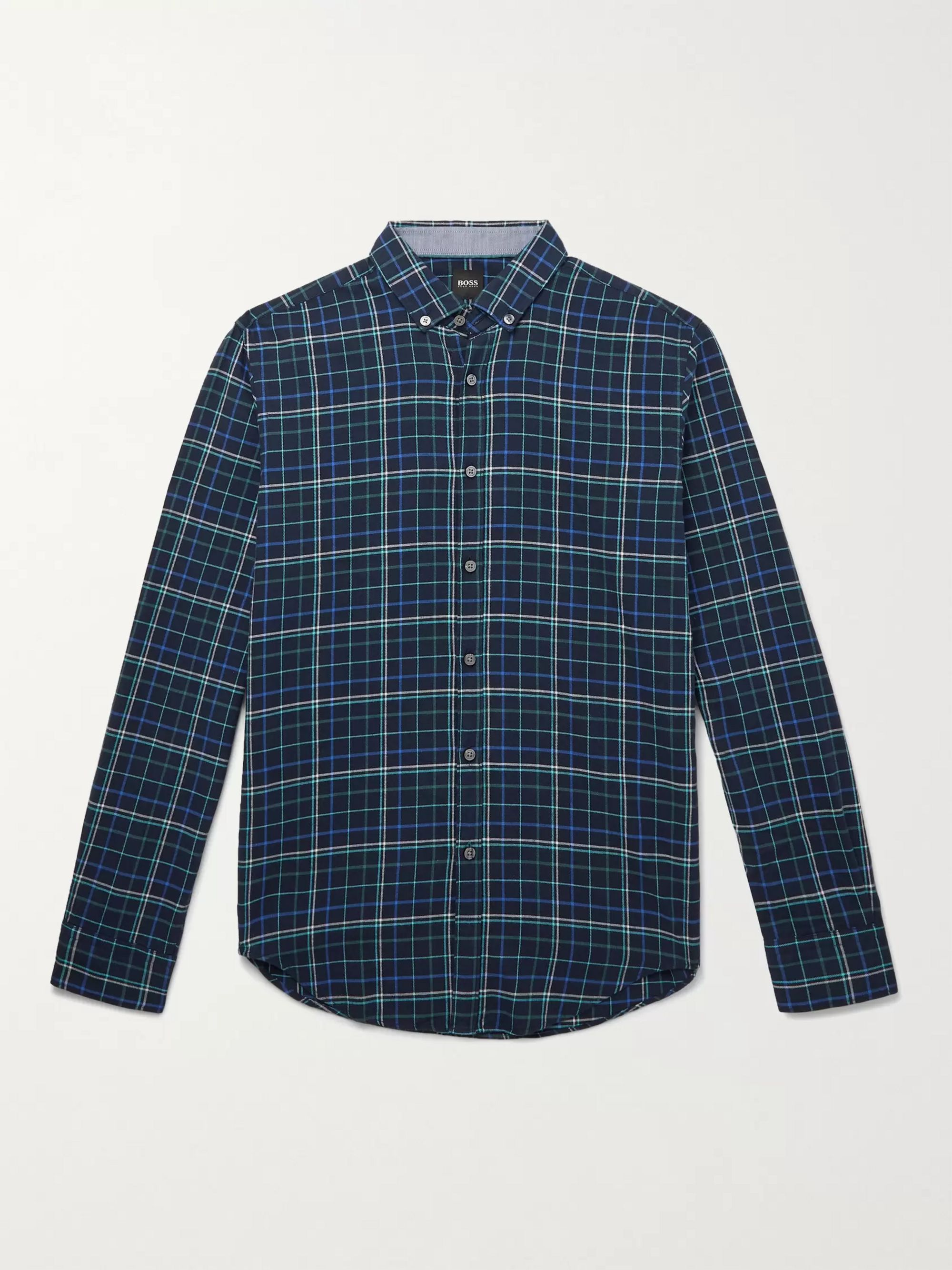 HUGO BOSS Slim-Fit Button-Down Collar Checked Cotton-Flannel Shirt