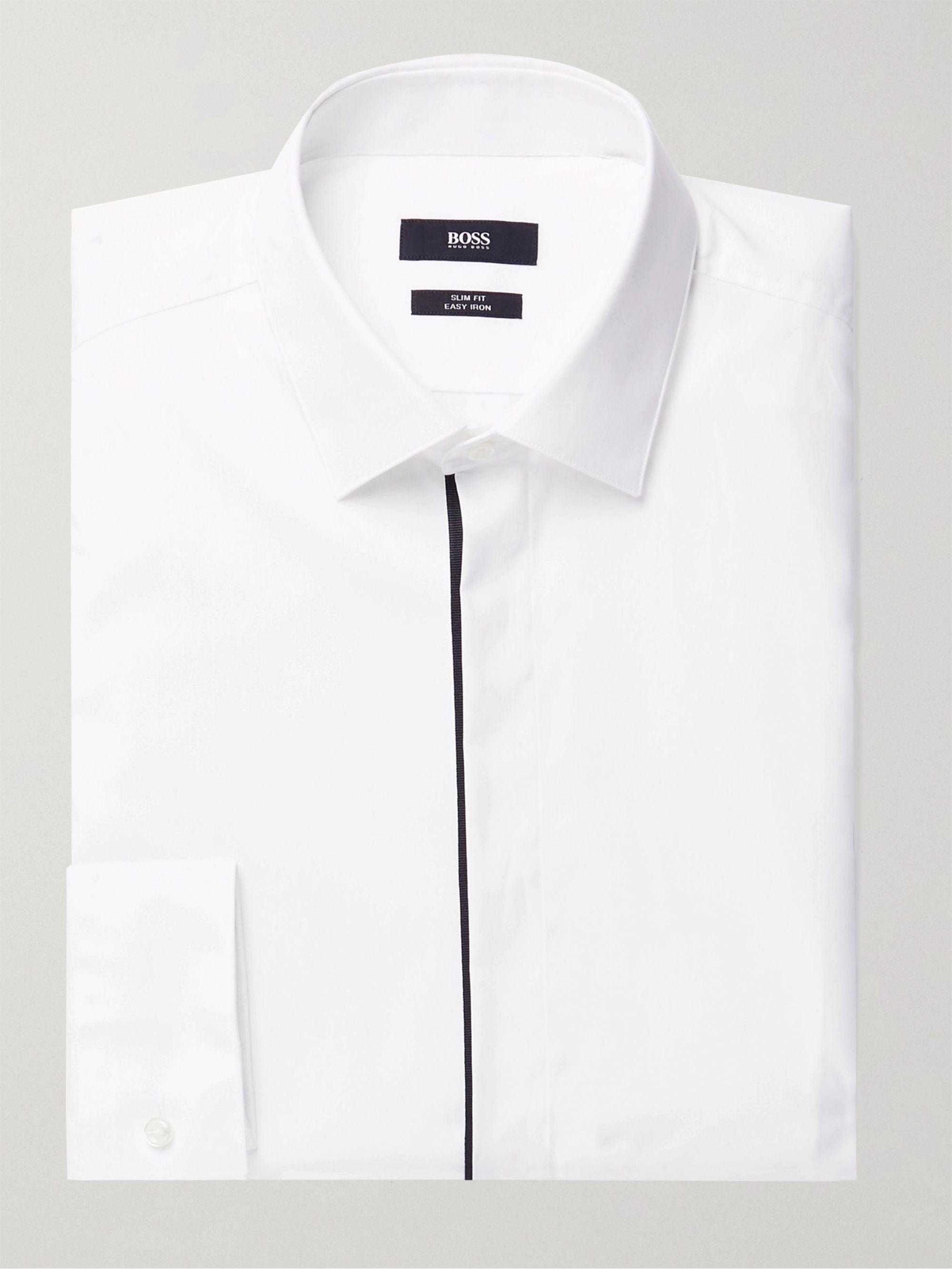HUGO BOSS Javis Grosgrain-Trimmed Cotton Shirt