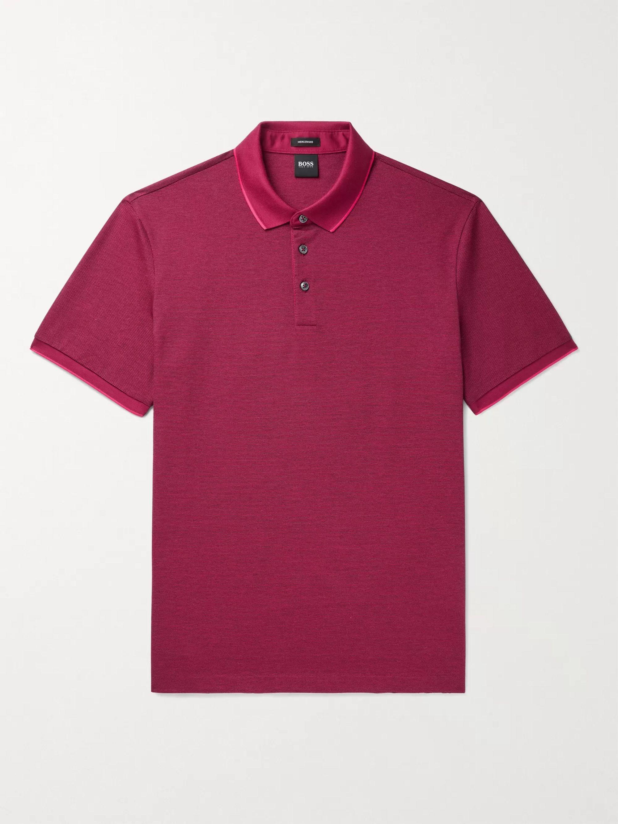 HUGO BOSS Prout Contrast-Tipped Cotton-Pique Polo Shirt