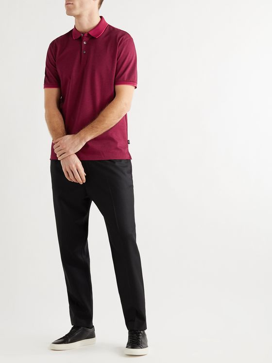 HUGO BOSS Prout Contrast-Tipped Cotton-Piqué Polo Shirt