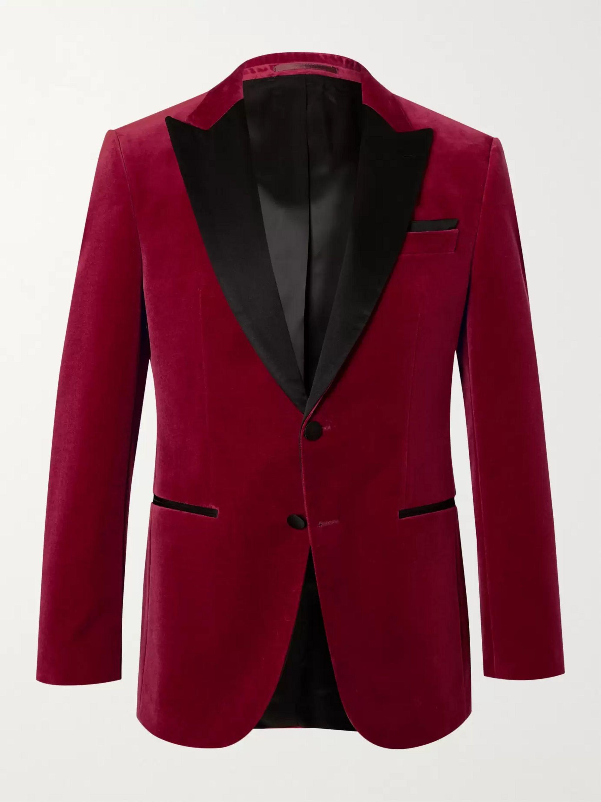 HUGO BOSS Helward Silk Satin-Trimmed Cotton-Velvet Tuxedo Jacket