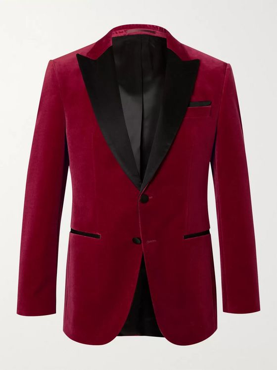 HUGO BOSS Helward Silk Satin-Trimmed Cotton-Velvet Tuxedo Jacket