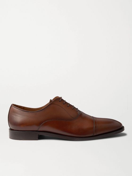 HUGO BOSS Lisbon Cap-Toe Burnished-Leather Oxford Shoes
