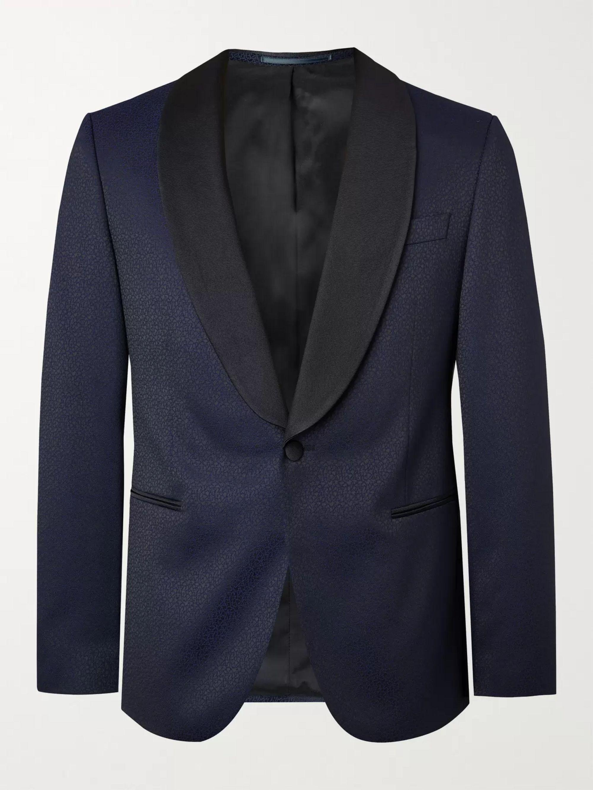 HUGO BOSS Nikan Slim-Fit Shawl-Collar Silk Satin-Trimmed Jacquard Tuxedo Jacket