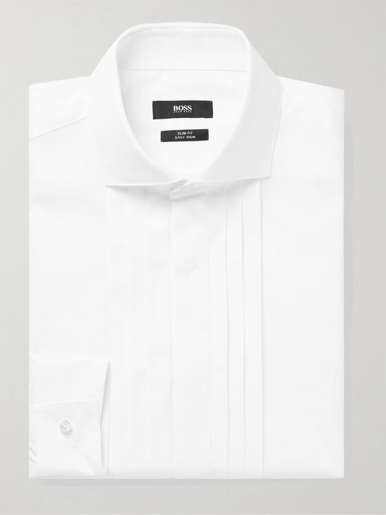 HUGO BOSS Slim-Fit Cutaway-Collar Pleated Bib-Front Cotton-Poplin Tuxedo Shirt