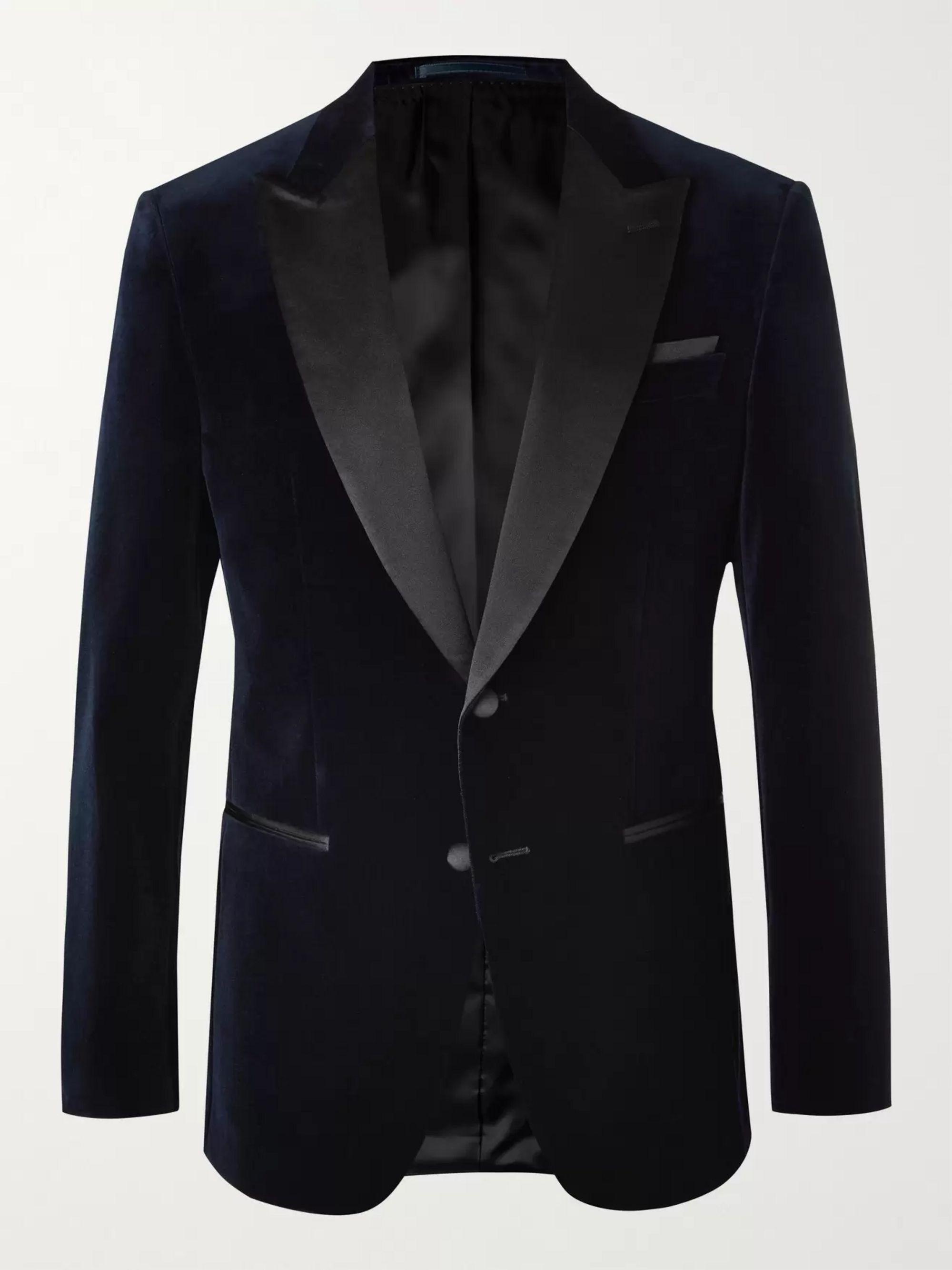 HUGO BOSS Helward Slim-Fit Silk Satin-Trimmed Cotton-Velvet Tuxedo Jacket