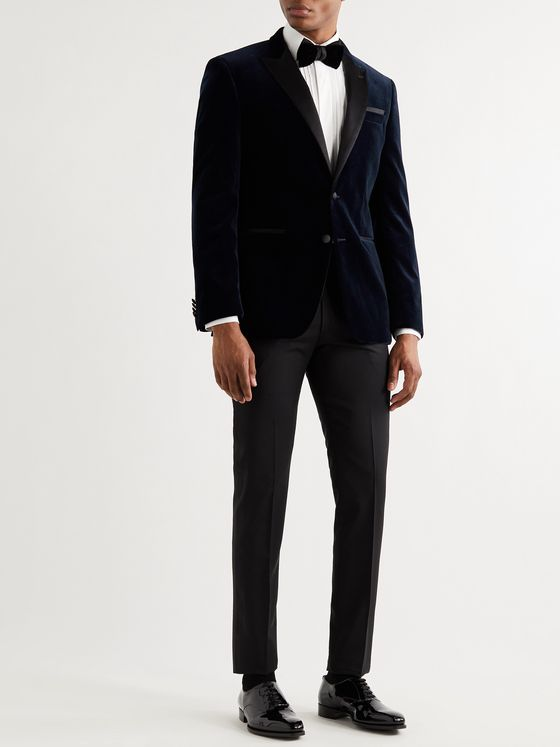 HUGO BOSS Helward Slim-Fit Silk Satin-Trimmed Cotton-Velvet Tuxedo Jacket