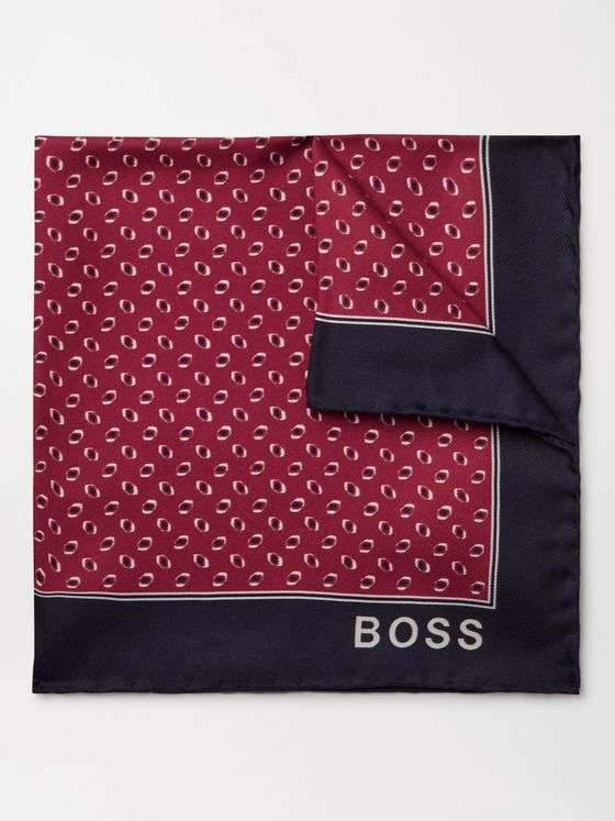 HUGO BOSS Printed Silk-Twill Pocket Square