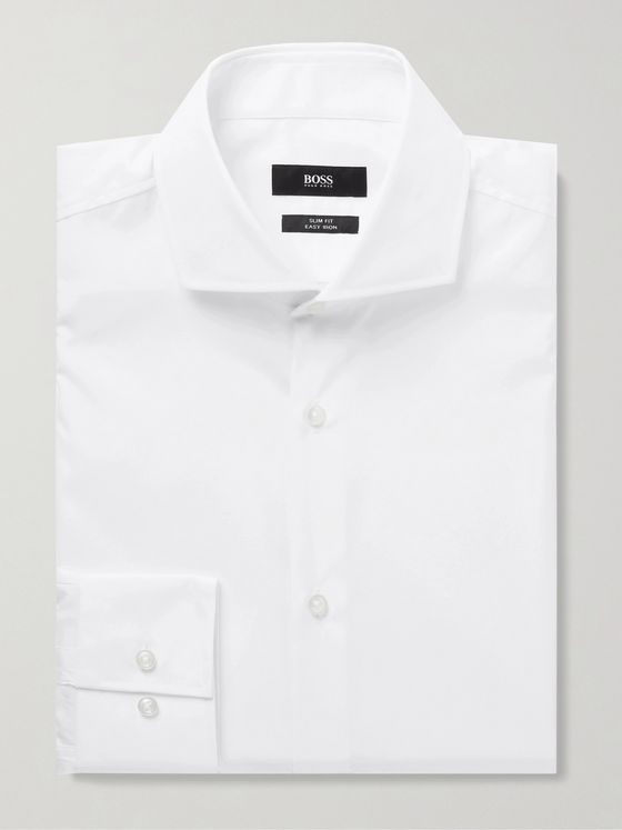 HUGO BOSS Jason Slim-Fit Cutaway-Collar Cotton-Poplin Shirt