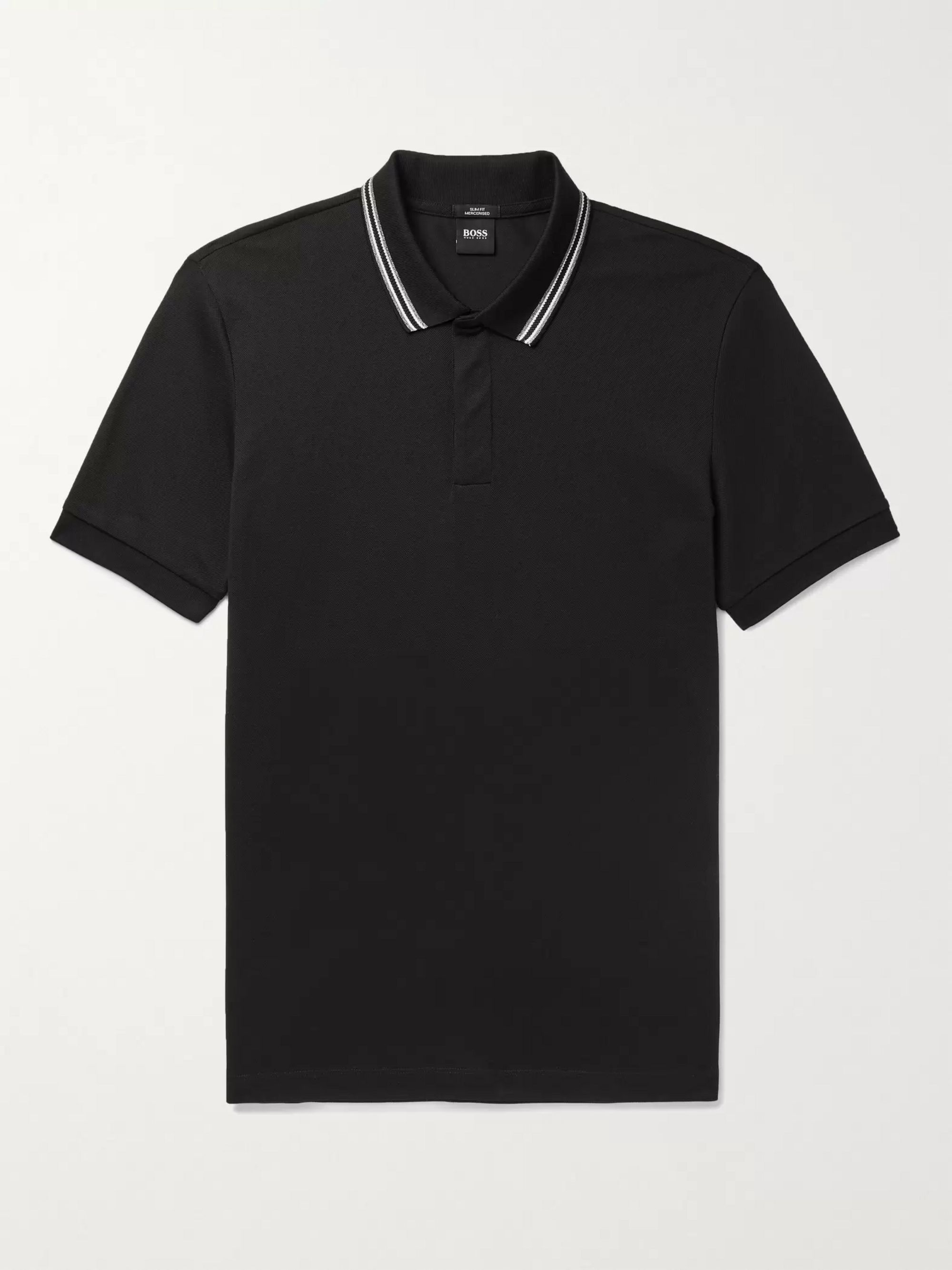 HUGO BOSS Penrose Contrast-Tipped Mercerised Cotton-Pique Polo Shirt