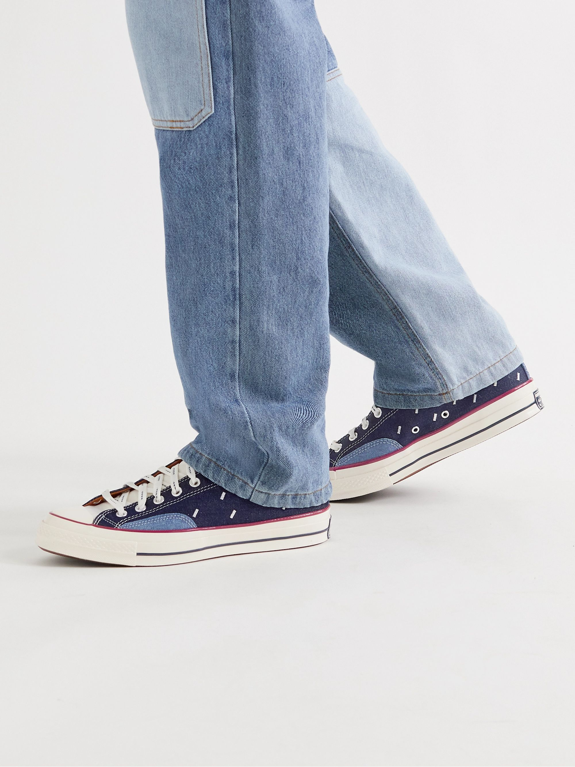 CONVERSE Chuck 70 OX Embroidered Denim and Canvas Sneakers