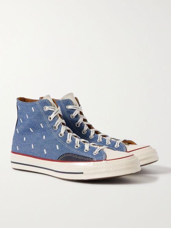 CONVERSE Chuck 70 Indigo Boro Embroidered Denim and Canvas High-Top Sneakers
