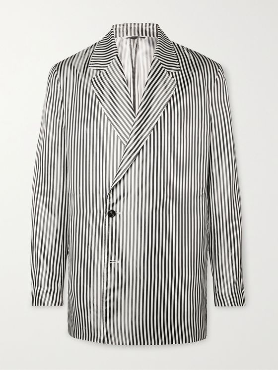DUNHILL Unstructured Striped Satin Blazer