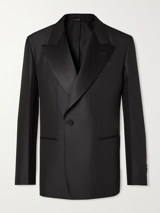DUNHILL Unstructured Virgin Wool and Mulberry Silk-Blend Tuxedo Jacket
