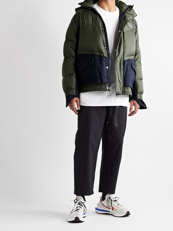 NIKE + Sacai NRG Logo-Print Quilted Nylon and Wool-Blend Down Hooded Parka