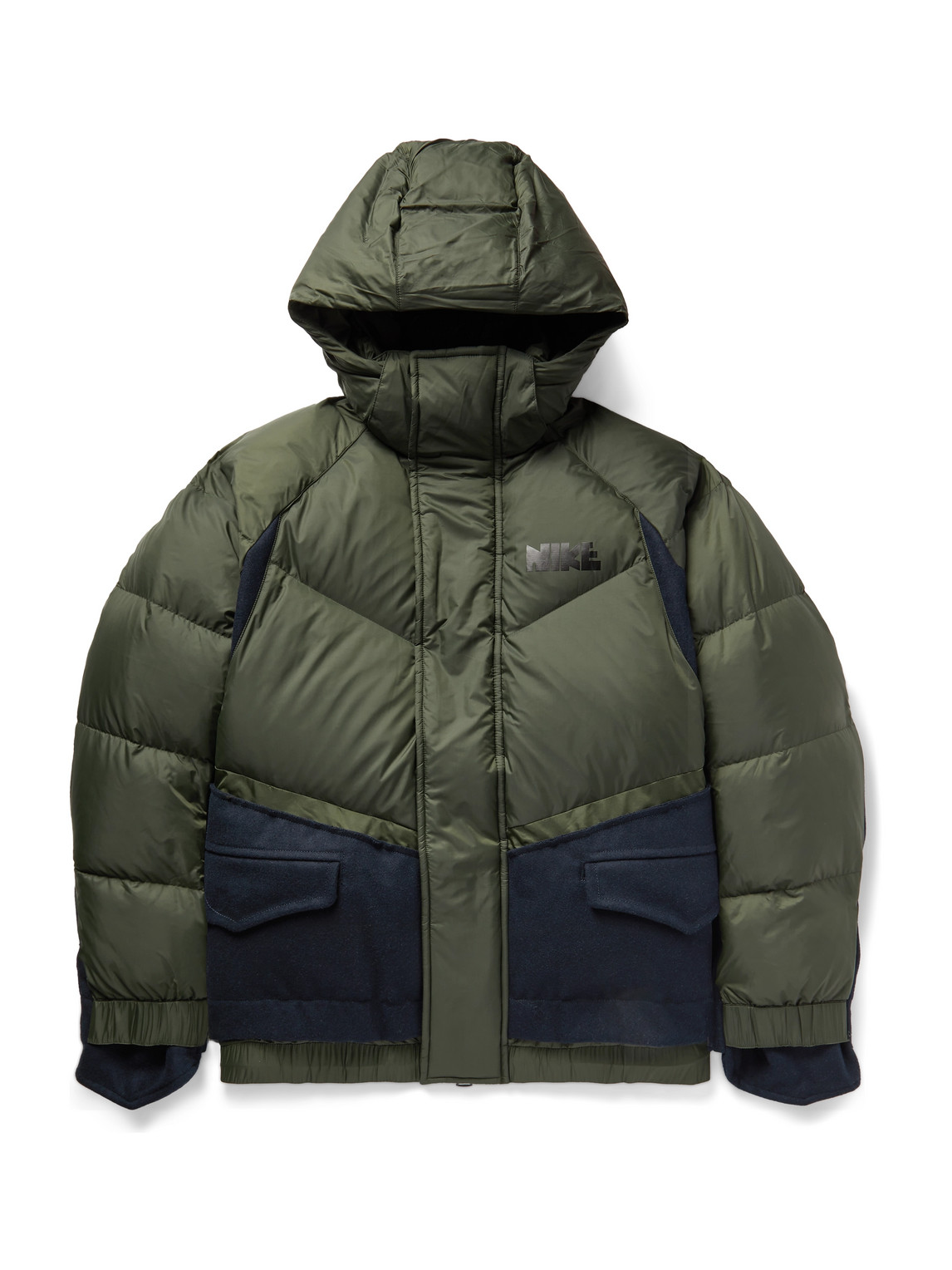 Nike - Sacai Nrg Logo-Print Quilted Nylon And Wool-Blend Down Hooded Parka - Men - Green - Xs