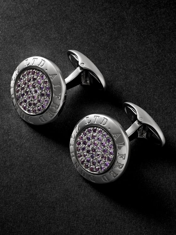 DUNHILL Sterling Silver Sapphire Cufflinks