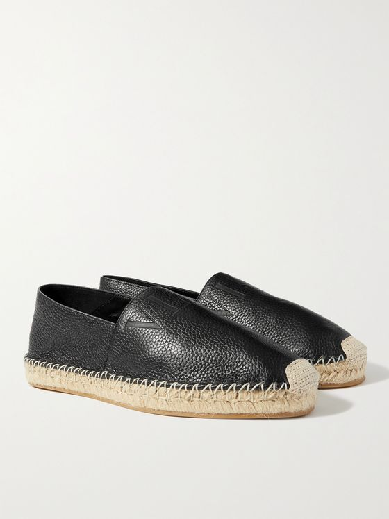 VALENTINO Logo-Debossed Full-Grain Leather Espadrilles