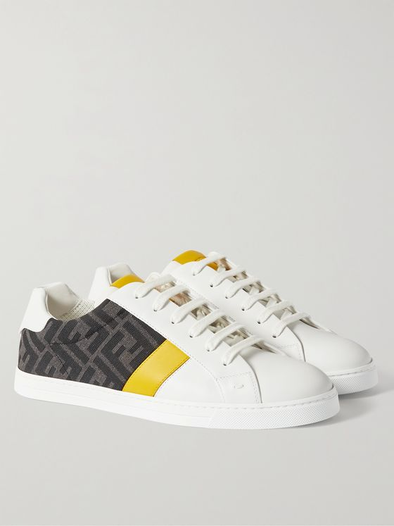 FENDI Leather and Logo-Jacquard Sneakers