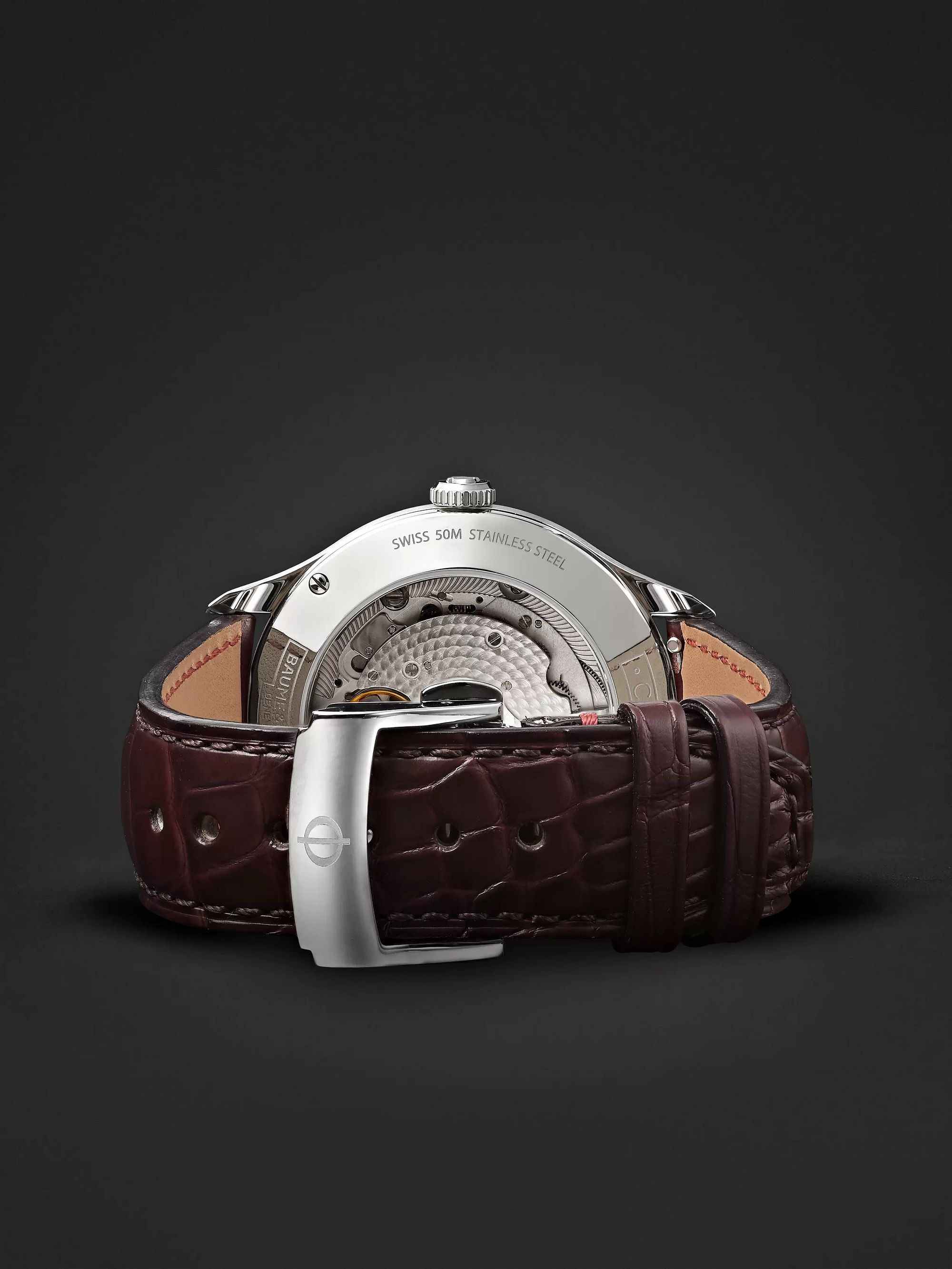 Baume & Mercier Clifton Baumatic Automatic Chronometer 40mm Stainless Steel and Alligator Watch, Ref. No. M0A10517