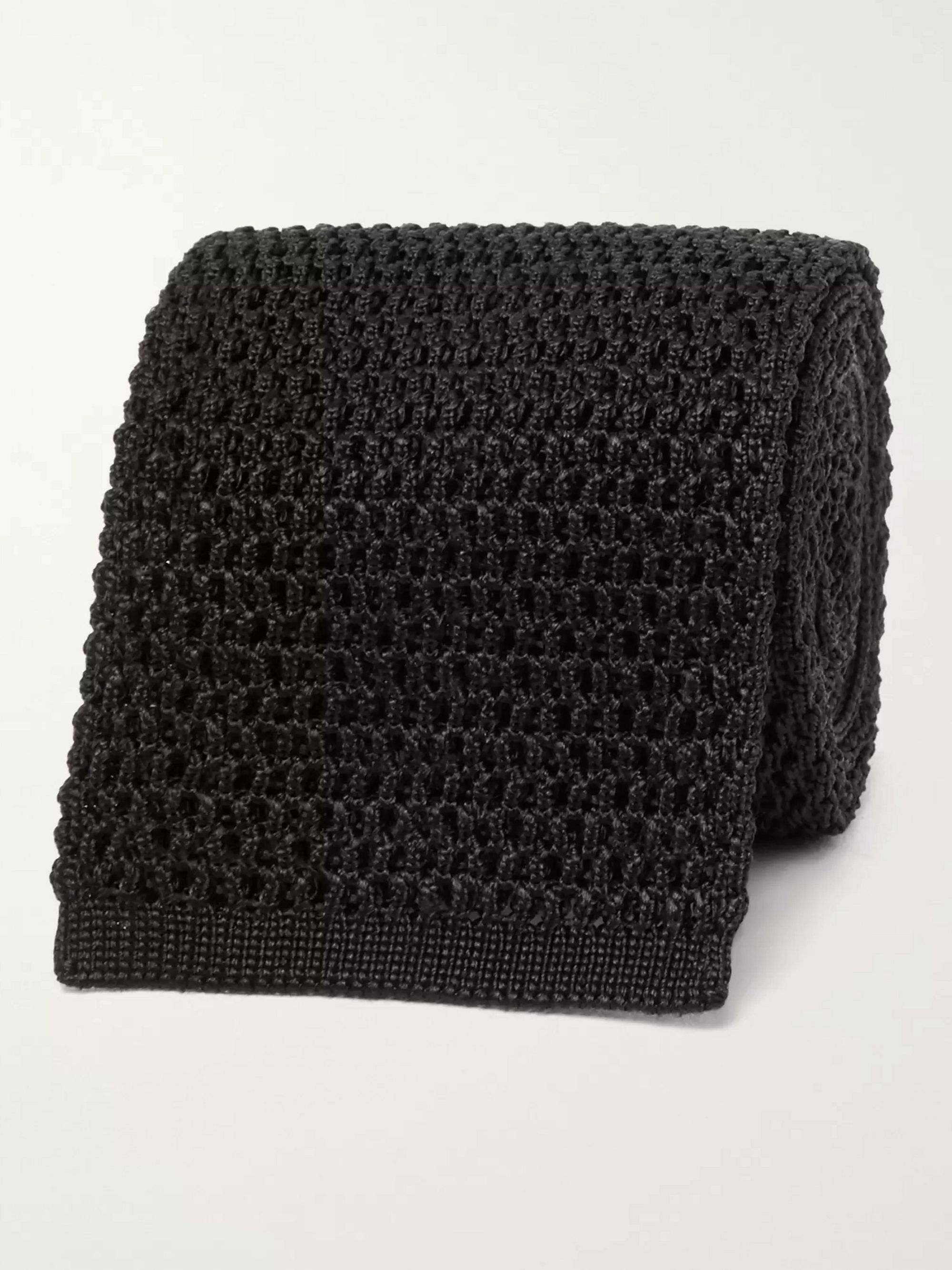 탐 포드 Tom Ford 7.5cm Knitted Silk Tie,Black
