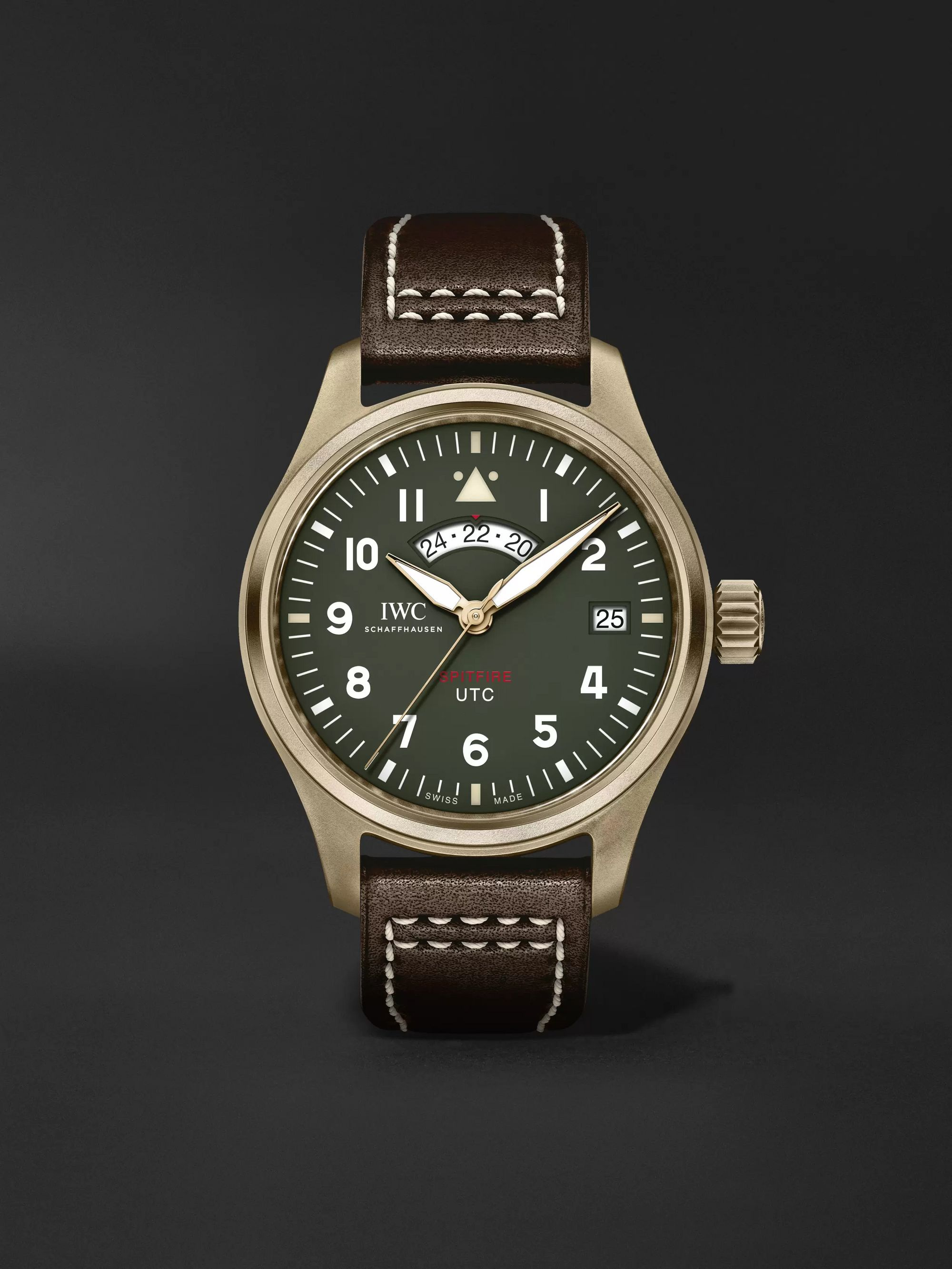 Pilot S Utc Spitfire Edition Mj271 Automatic 41mm Bronze And Leather Watch