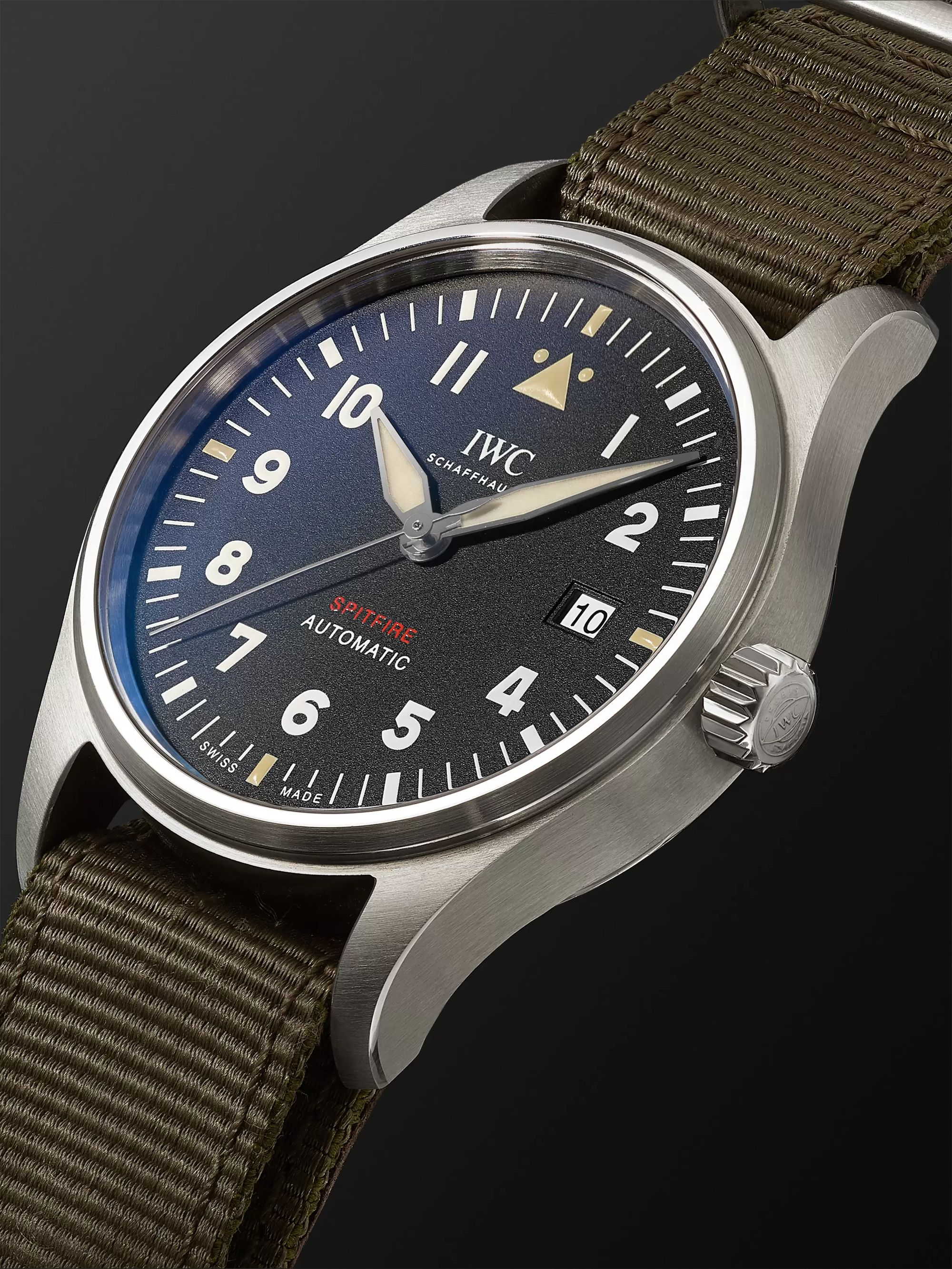 IWC SCHAFFHAUSEN Pilot's Spitfire Automatic 39mm Stainless Steel and Webbing Watch