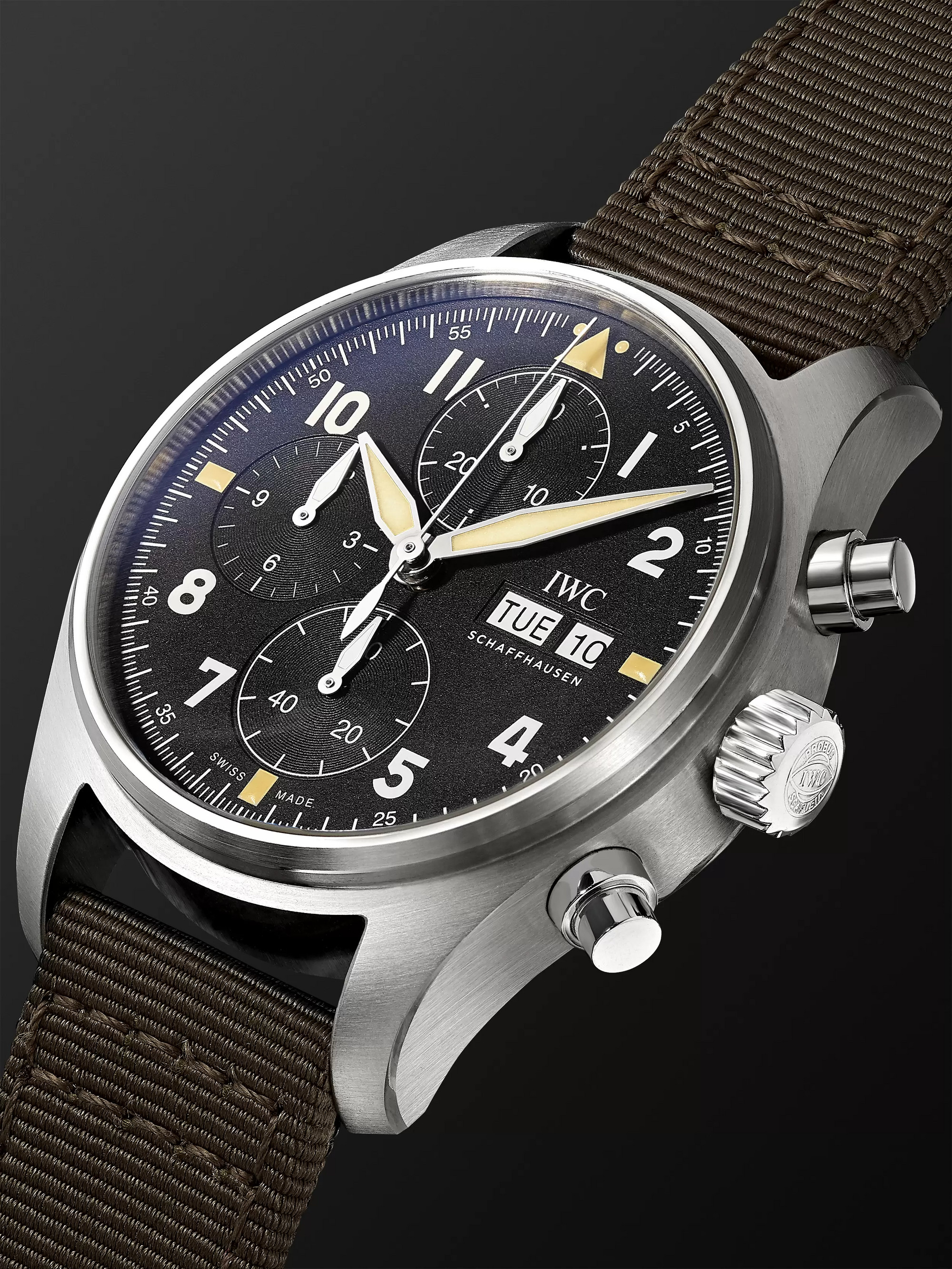 IWC SCHAFFHAUSEN Pilot's Spitfire Chronograph 41mm Stainless Steel and Webbing Watch